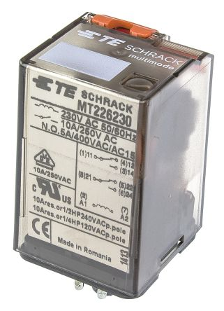 TE Connectivity , 230V ac Coil Non-Latching Relay DPDT, 10A Switching Current Plug In, 2 Pole
