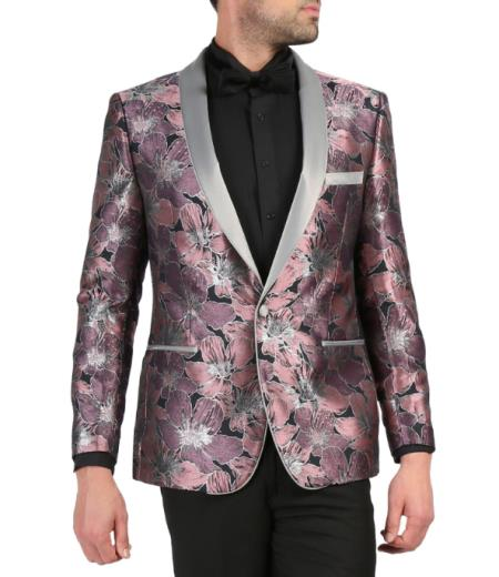 Mens Single Breasted Shawl Lapel Rose Tuxedo Blazer