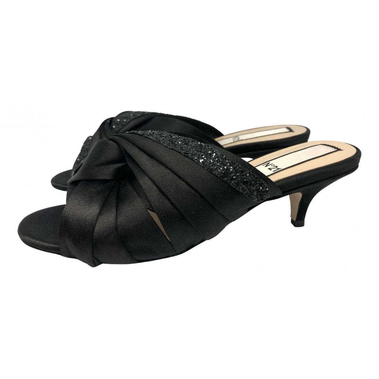 N°21 - Sandales   pour femme en toile - noir