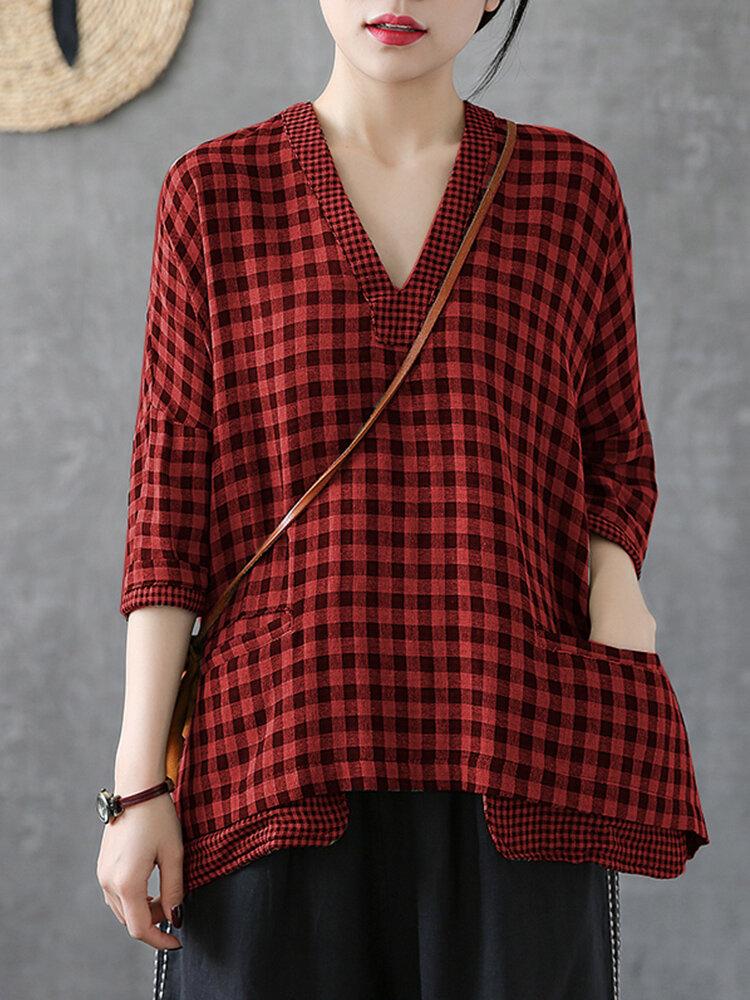 Plaid Patchwork V-neck Plus Size Blouse for Women