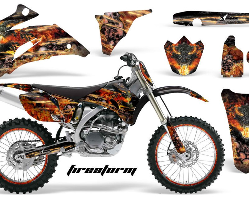 AMR Racing Graphics MX-NP-YAM-YZ250F-YZ450F-06-09-FS K Kit Decal Wrap + # Plates For Yamaha YZ250F YZ450F 2006-2009áFIRESTORM BLACK