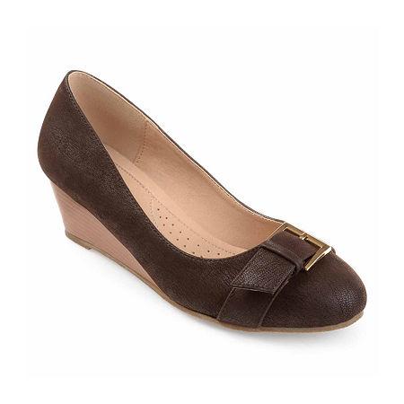 Journee Collection Womens Graysn Pumps Wedge Heel, 6 1/2 Medium, Brown
