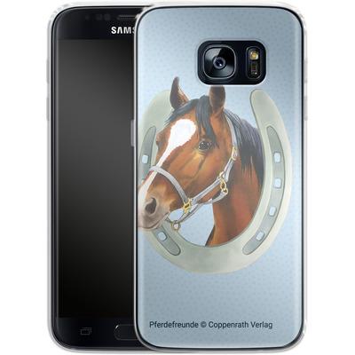 Samsung Galaxy S7 Silikon Handyhuelle - Pferdefreunde Hufeisen Blau von Pferdefreunde