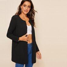 Mantel mit rundem Ausschnitt und Tasche