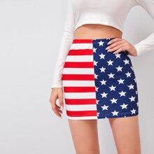 Falda con estampado de bandera estadounidense