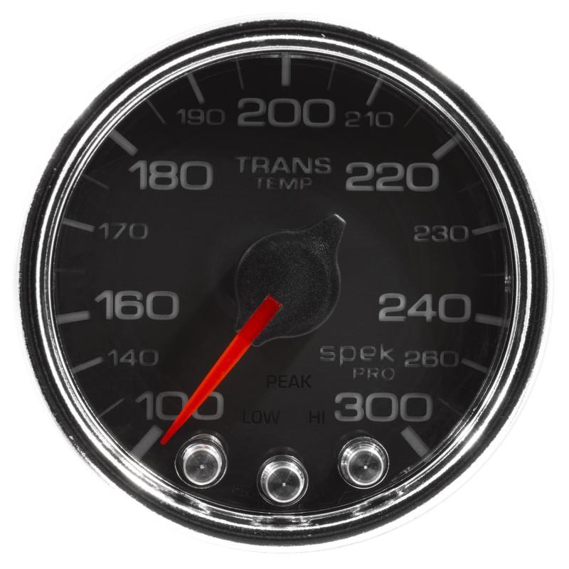 AutoMeter GAUGE; TRANS TEMP; 2 1/16in.; 300deg.F; STEPPER MOTOR W/PK/WRN; BLK/CHRM; SPEK-P