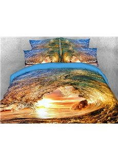 Rolling Waves In The Sun 3D Printed 4-Piece Polyester Bedding Sets/Duvet Covers