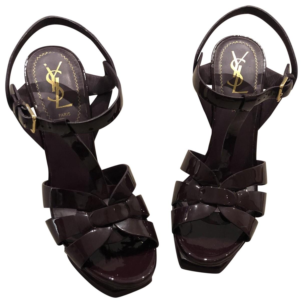 Yves Saint Laurent Tribute Burgundy Patent leather Sandals for Women 37 EU