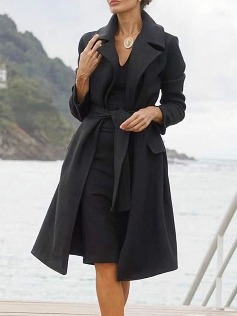 Ericdress Lace-Up Lace-Up Slim Mid-Length Notched Lapel Overcoat
