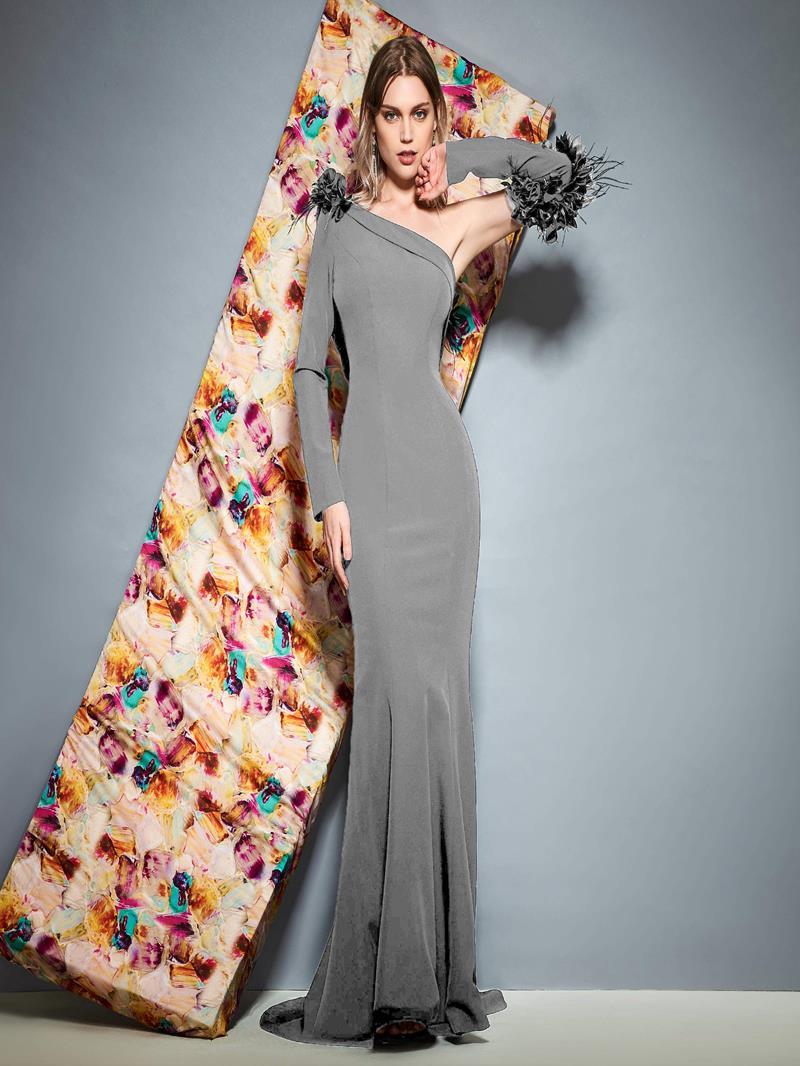 Ericdress One Shoulder Mermaid Black Evening Dress