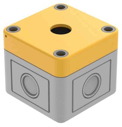 EAO Grey/Yellow Plastic 84 Push Button Enclosure - 1 Hole 22.5mm Diameter