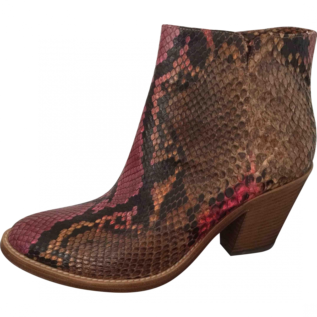 Le Silla \N Red Python Ankle boots for Women 37 EU