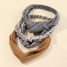 3pcs Plaid & Flower Print Headband