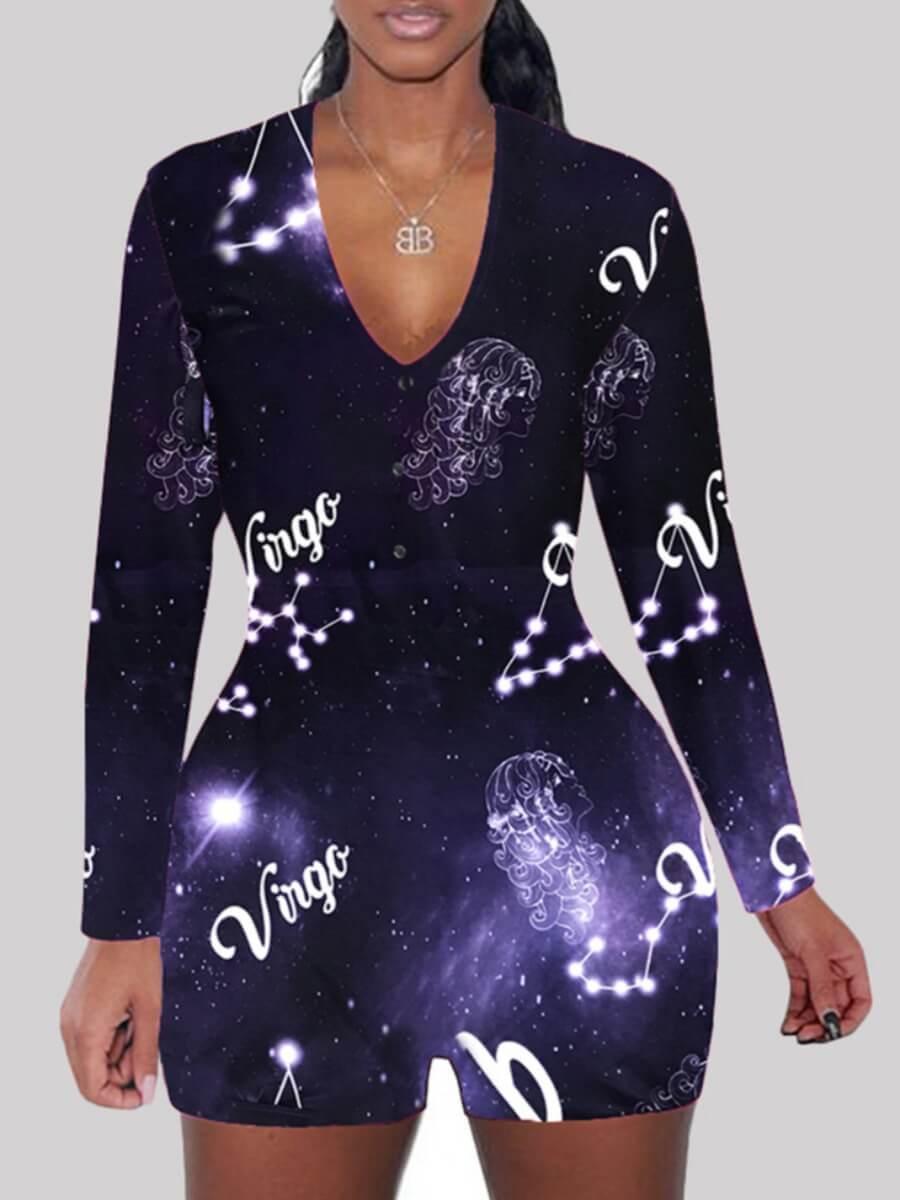 LW Lovely Chic V Neck Print Violet Deep Sleepwear
