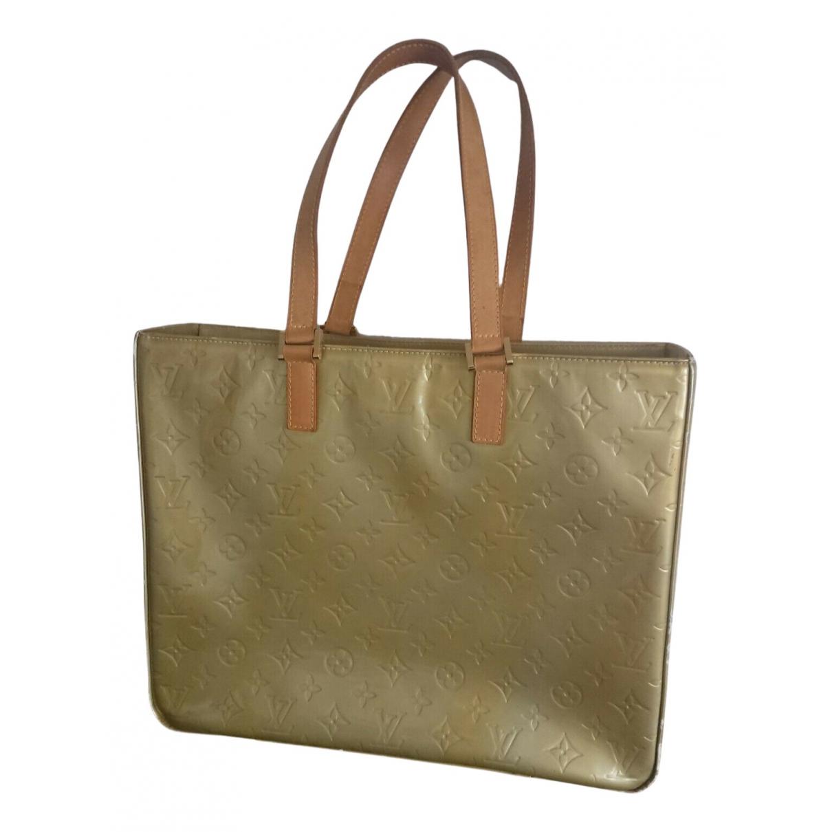 Louis Vuitton Columbus Beige Patent leather handbag for Women N