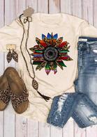 Leopard Serape Striped Sunflower T-Shirt Tee - Apricot