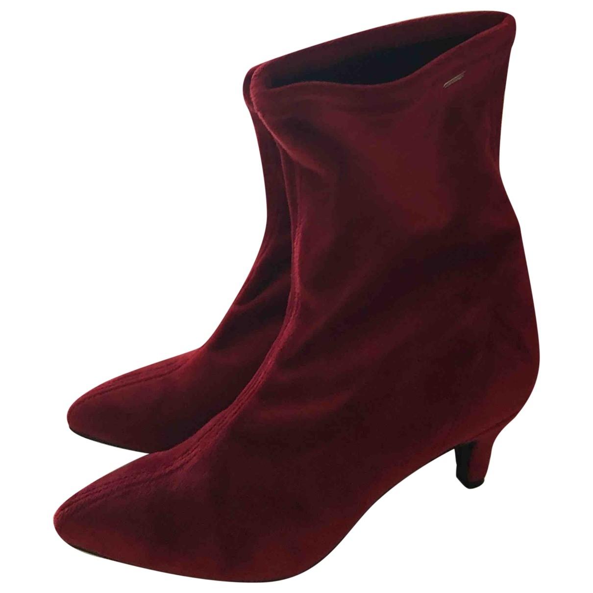 - Boots   pour femme en velours - bordeaux