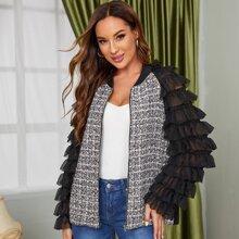 Zip Up Ruffle Layered Sleeve Tweed Panel Jacket