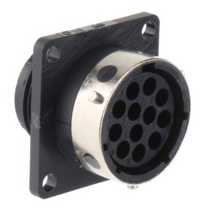 ITT Cannon Connector, 12 contacts Panel Mount Socket, Crimp IP65