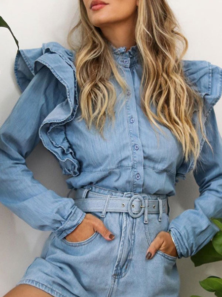 Milanoo Women\'s Shirt Baby Blue Stand Collar Cowboy Long Sleeves Cotton Tops