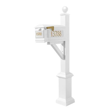 WPD-SB1-S4-LM-3P-WHT Westhaven System with Lewiston Mailbox  (3 Cast Plates) Square Base & Large Ball Finial in
