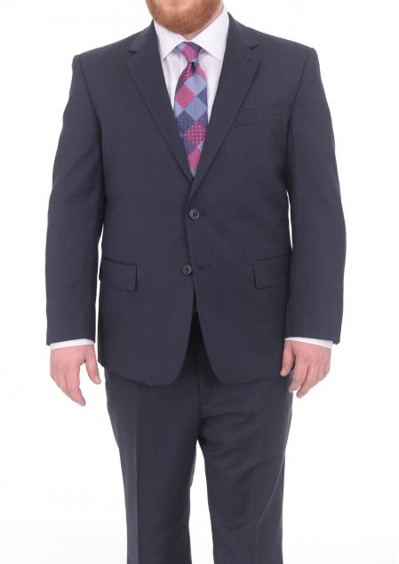 Mens Textured Portly Fit Blue 2Button Notch Lapel Super 130's WoolSuit