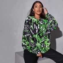 Drop Shoulder Graffiti Sweatshirt