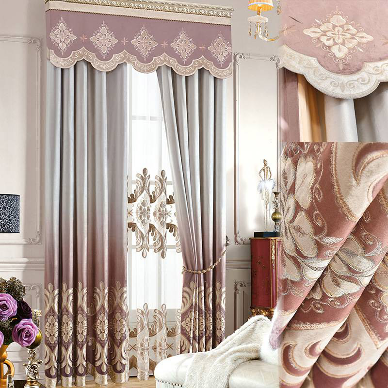 Noble and Elegant Royal Style Embroidered Pattern 2 Panels Curtains