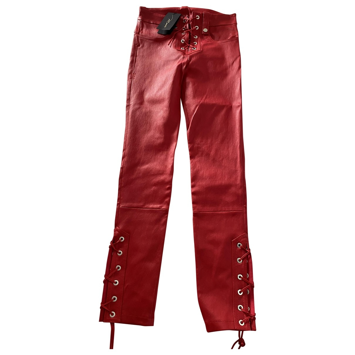 Monoki \N Red Exotic leathers Trousers for Women 38 FR
