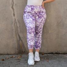 Pantalones Extra Grande Bolsillo Tie-Dye Casual