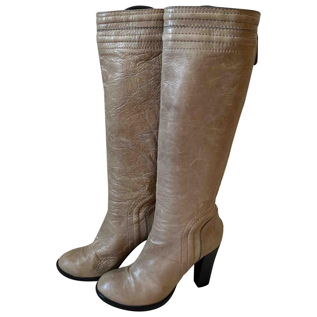 Chloe \N Stiefel in  Grau Leder