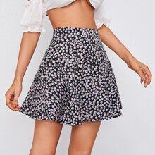 Falda floral de margarita de cintura alta