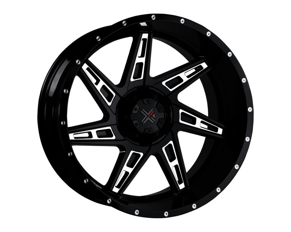 DX4 Skull Gloss Black Ball Milled Wheel 20x11.5 8x170 -40