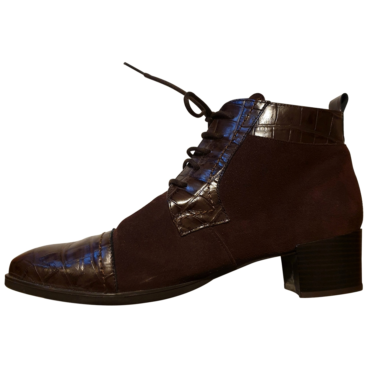 Non Signé / Unsigned \N Brown Leather Ankle boots for Women 41 EU