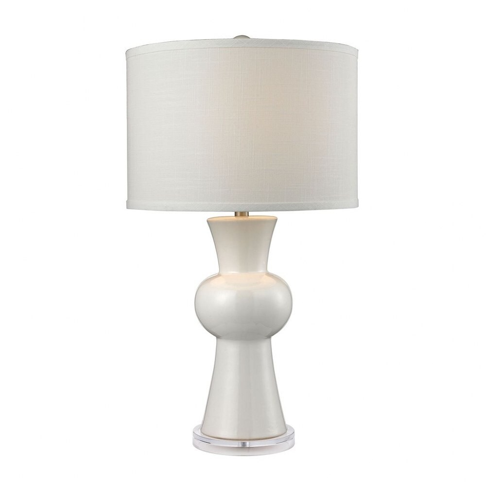 Gloss White Table Lamp Made Of Ceramic With A White Linen Shade With A 3-Way Switch  Gloss White - Gloss White (Gloss White)