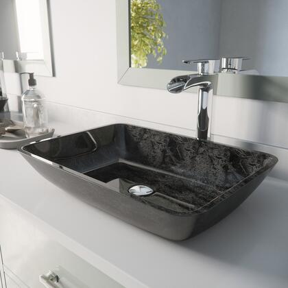 VGT1852 Rectangular Gray Onyx Glass Vessel Bathroom Sink Set With Niko Vessel Faucet in