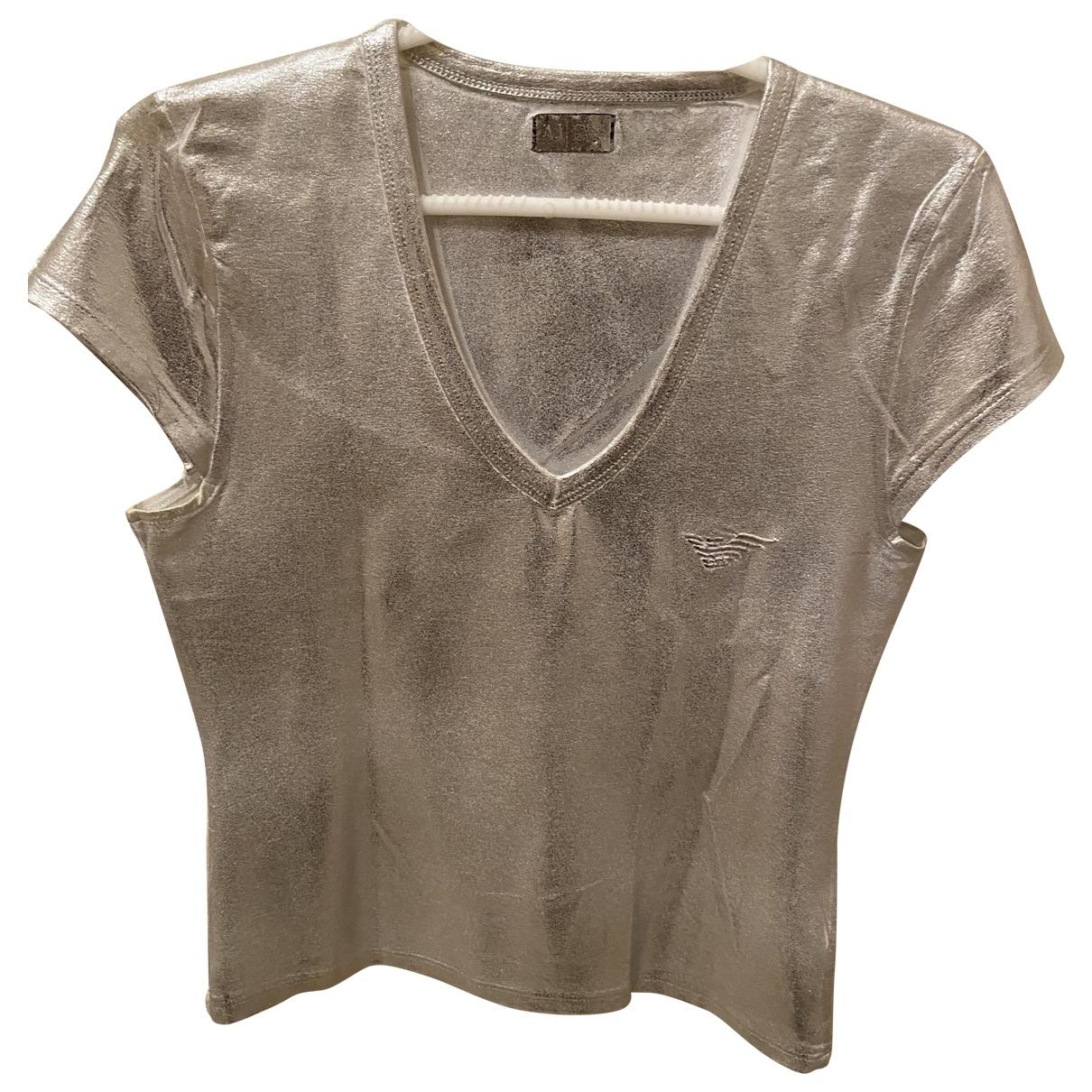 Armani Jean - Top   pour femme en coton - argente