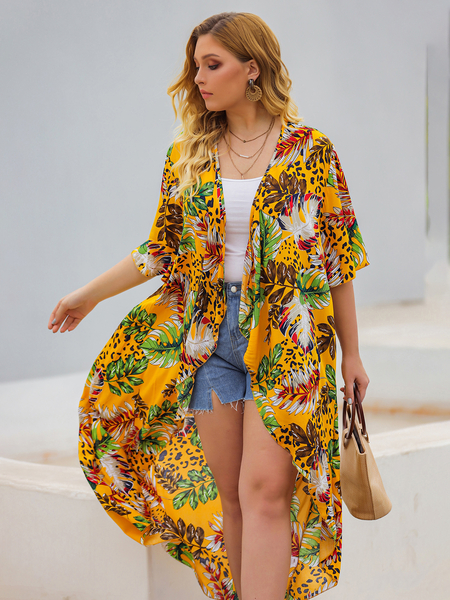 Yoins Plus Size Yellow Floral Print Half Sleeves Cover-Up