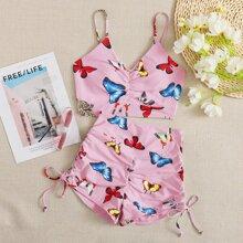 Bañador bikini shorts con cordon con estampado de mariposa