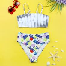Girls Striped & Dragonfly Print Bikini Swimsuit