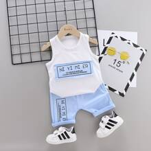 Toddler Boys Letter Patched Tank Top & Shorts