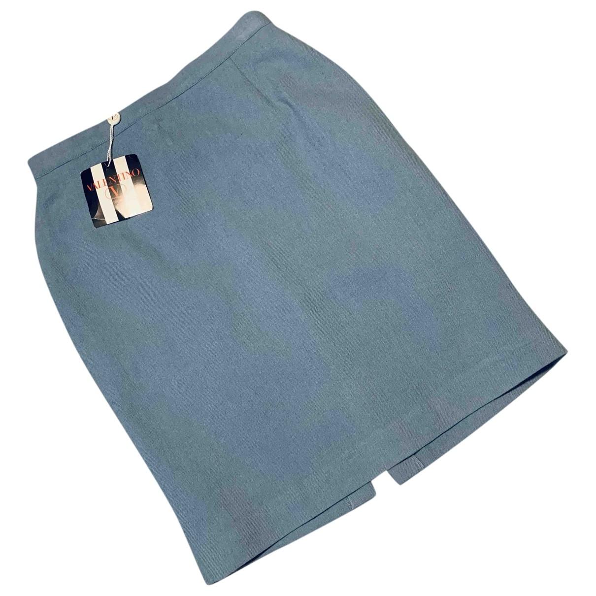 Valentino Garavani \N Blue Linen skirt for Women 46 IT