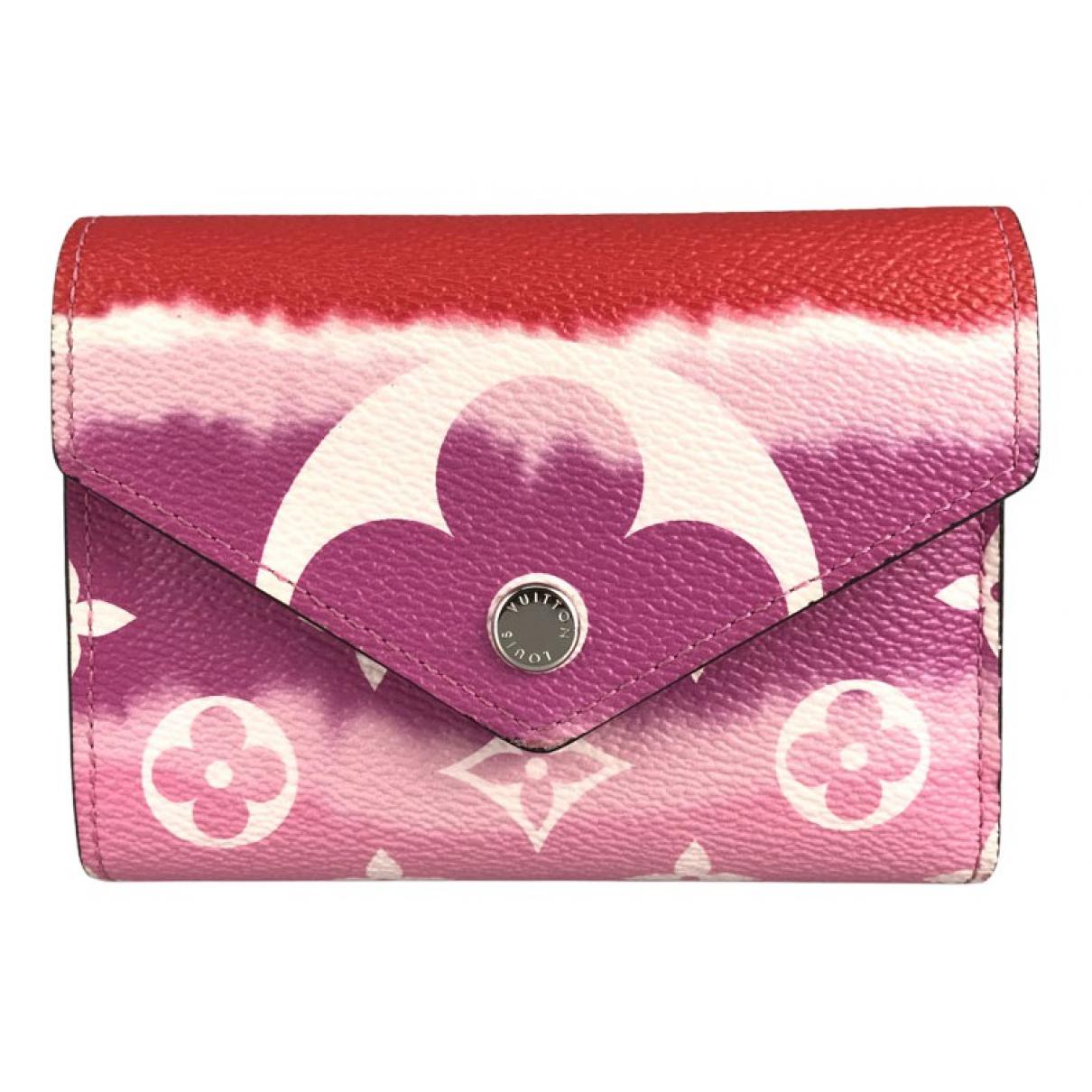 Louis Vuitton - Portefeuille Victorine pour femme en toile - rose
