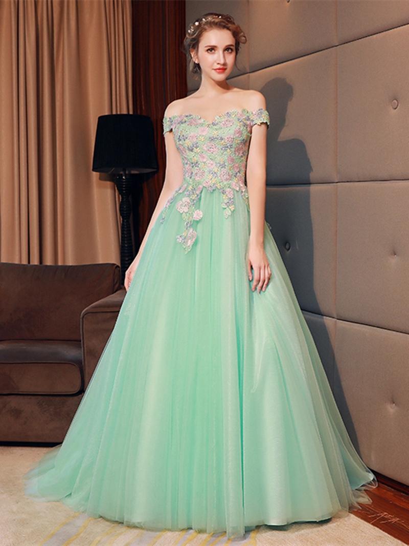 Ericdress A-Line Off-the-Shoulder Flowers Evening Dress