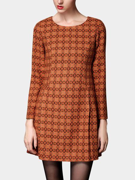 Yoins Plus Size Patterned Long Sleeve Dress In Orange