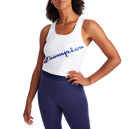 Champion Womens U Neck Sleeveless Crop Top, X-large , White