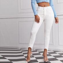 Asymmetrical Raw Hem Skinny Jeans