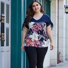 Camisetas de Tallas grandes Cordon Floral Multicolor Casual