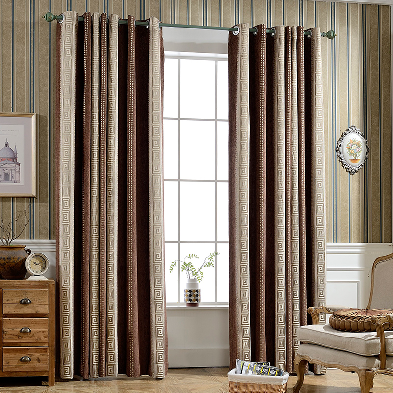 Mixed Color Pencil Pleat Blackout Custom Curtains for Living Room Bedroom