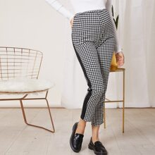 Maternity Houndstooth Contrast Side Seam Pants